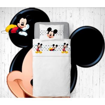 Jogo de lençóis Mickey Flanela